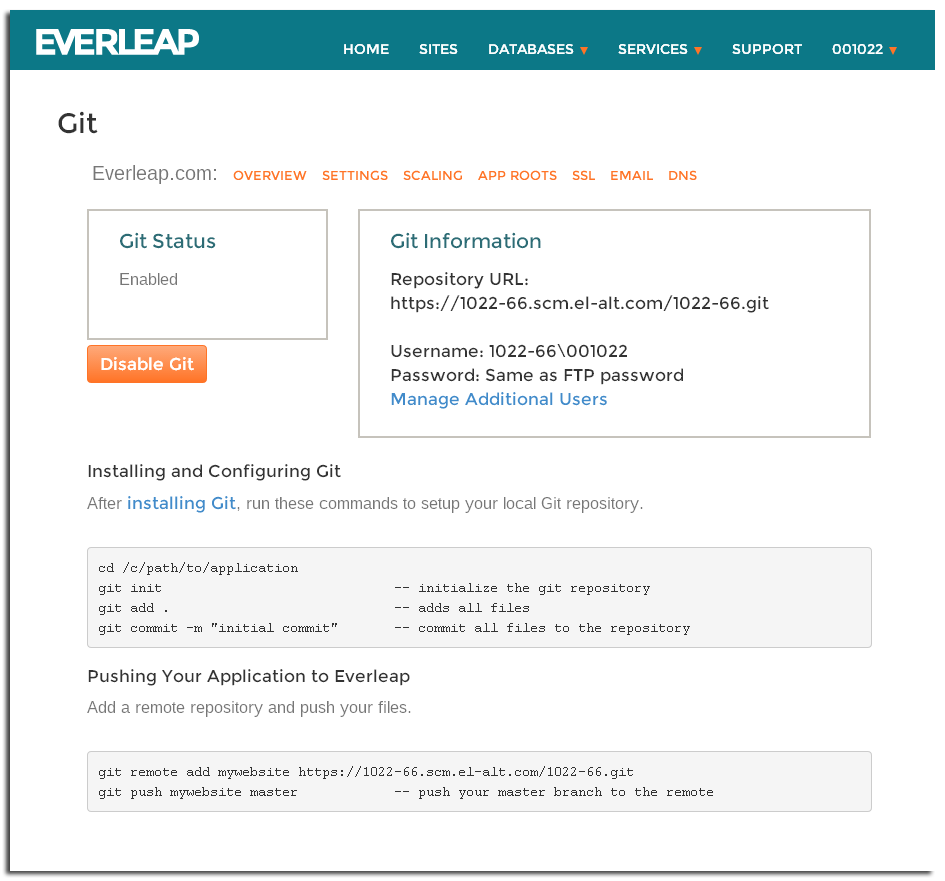 Everleap Control Panel Git integration page