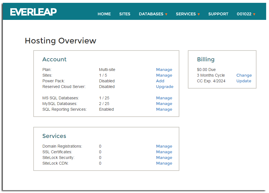 Everleap Control Panel Overview