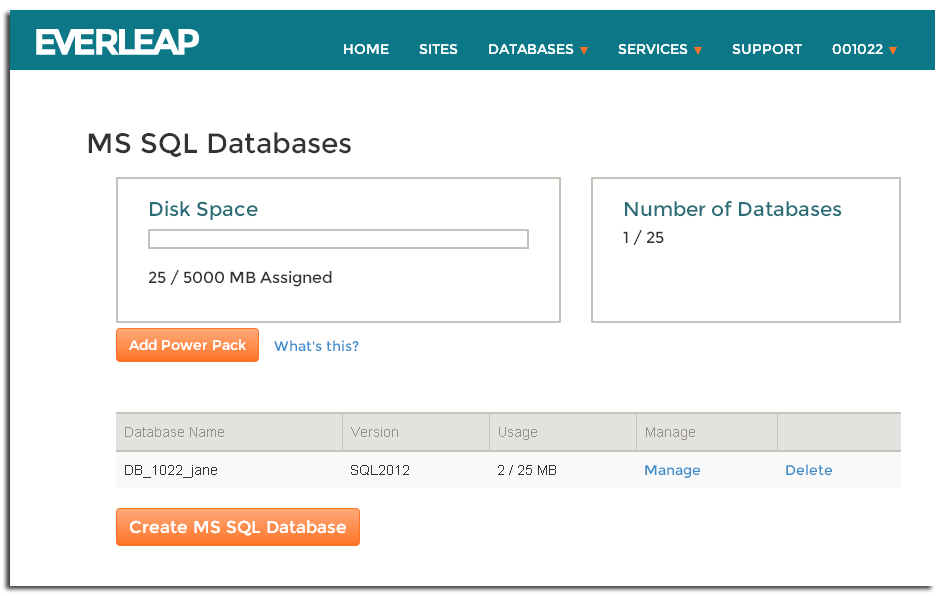 Everleap Control Panel Databases Overview