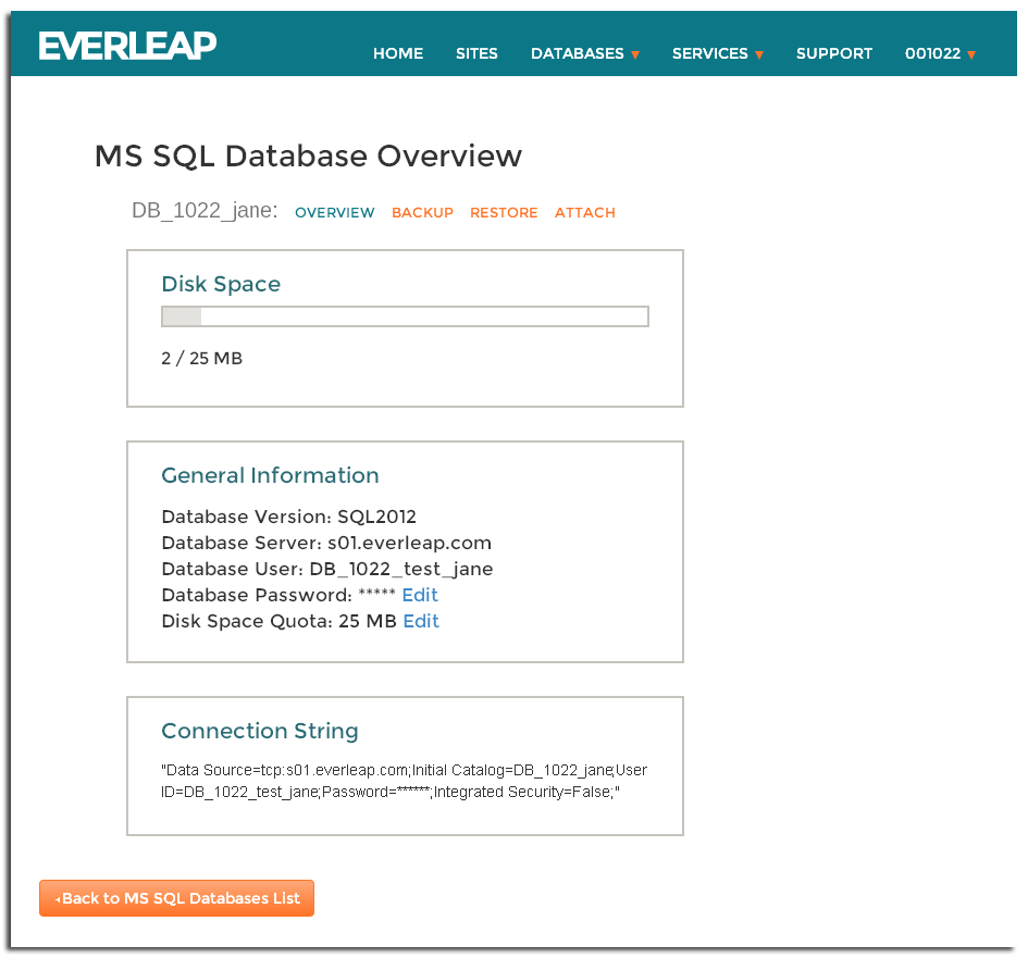 Everleap Control Panel Individual Database Overview
